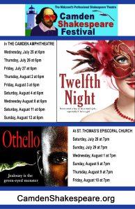 "Camden Shakespeare Festival Opens ""Twelfth Night"" July 25"