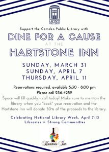 """Dine for a Cause"" at the Hartstone Inn"