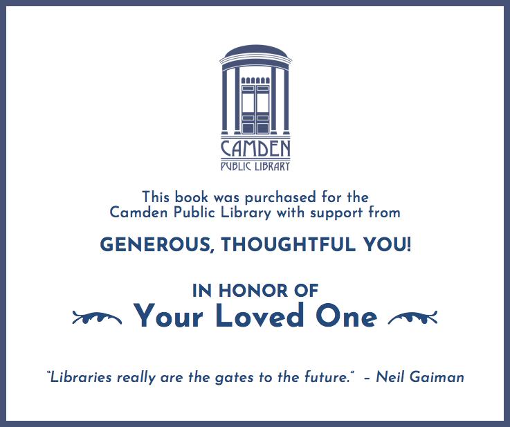 Sample of Camden Public Library hardcover bookplate