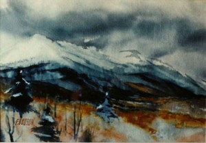 December Mountain watercolorx372