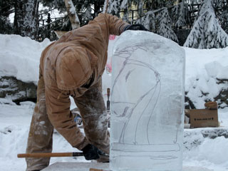 winterfest 2018 community ice carving camden public library