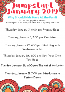 Jumpstart January Classes Announced!