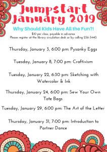 Jumpstart January Classes Announced!