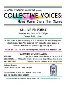 """Collective Voices: Maine Women Share Their Stories """"Call Me Pollyanna"""""""